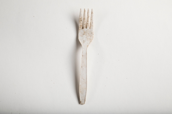 Plastic fork from the brush line, found around a styrofoam container and Polar Pop cups.